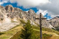 Blick vom Bustac auf die Cirspitzen beim Groedner Joch, Suedtirol