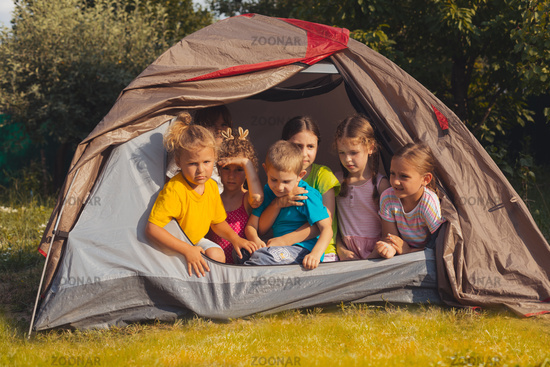 the children are resting in nature in the summer camp