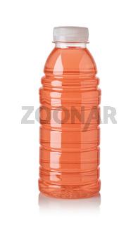 Plastic bottle of red sweet water