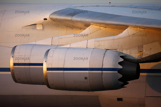 Engines of a huge cargo aircraft