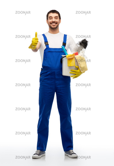 cleaner with cleaning supplies showing thumbs up