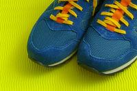 Part of pair blue man sport shoe