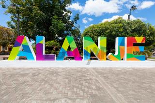 Panama, welcome sign of Alanje town