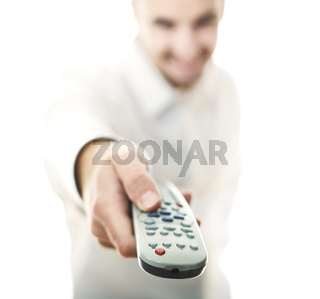 man with remote control