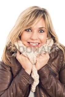 Ecstatic woman in winter jacket