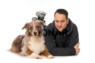 Man with his dog on white background