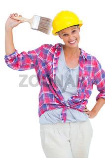 Happy handy woman looking at camera