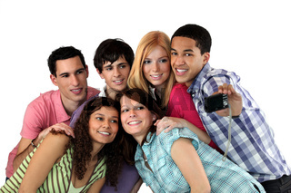 Group of young adults taking pictures