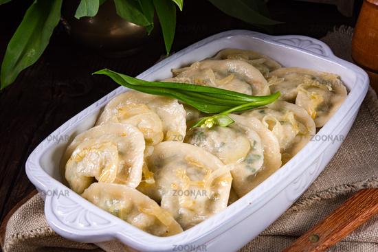 pierogo with wild garlic -cheese filling