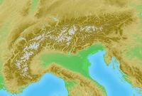 Alpen topografische Relief Karte