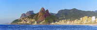 Panoramic image of early morning on Ipanema beach