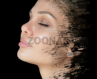 Paintography. Creative portrait of a young woman on a black background
