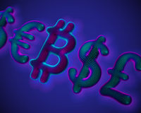 Bitcoin crypto currency 3D icon in a row with globe currencies symbols
