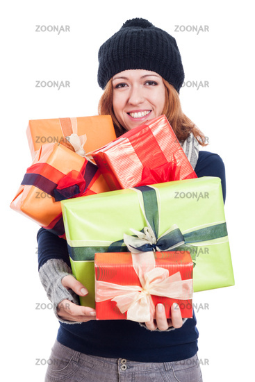 Happy winter woman with many presents
