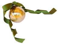 Golden Christmas ball with green ribbon