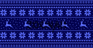 Christmas blue panoramic background with drawings of deer and patterns of the holiday - Vector