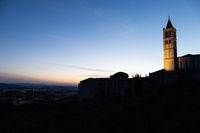 Church in Assisi village in Umbria region, Italy. The town is famous for the most important Italian Basilica dedicated to St. Francis - San Francesco.