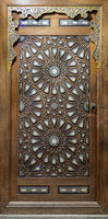 Door of Minbar of Al Rifai Mosque, with wooden arabesque tongue and groove assembled, inlaid with ivory and ebony, Egypt