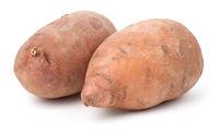 Organic Sweet Potatoes Isolated On White Background