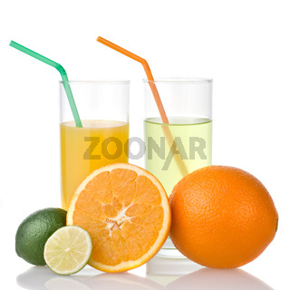 lime and orange juice with orange isolated on white