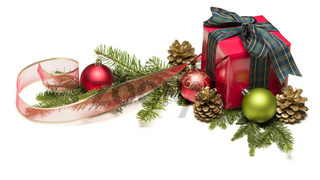 Christmas Present with Ribbon, Pine Cones and Ornaments