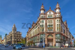Building of Parisi Udvar Hotel, Budapest, Hungary