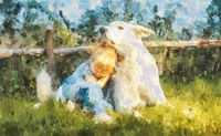 little girl and white wolfhound in the meadow. Painting effect.