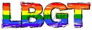 Word LBGT with rainbow pride flag under it, distressed grunge look.