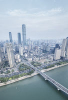 aerial view of changsha downtown
