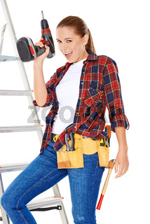 Confident happy DIY handy woman