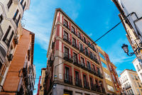 Traditional residential buildings in central Madrid, Spain