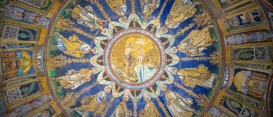 Historic byzantine mosaic in Saint Vitale Basilica, Ravenna, Italy