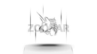 Uniswap UNI token symbol of the DeFi system above the pedestal on white background. Cryptocurrency logo icon. Decentralized finance programs. Vector illustration for website or banner.