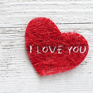rotes Herz mit Aufschrift