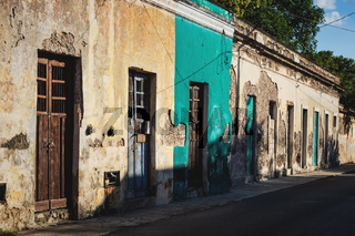 Abadoned colorful colonial house facades in Merida, Mexico