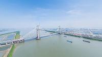 cable-stayed bridge under construction on Yangtze River