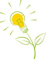 green energy symbol, plant with light bulb