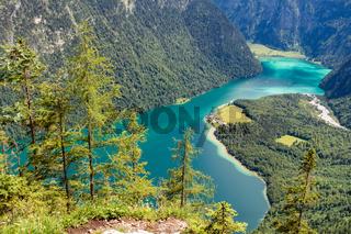Fantastischer Blick auf den Königssee, Berchtesgaden, Oberbayern, Deutschland