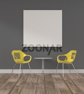 Puristic modern office room with a blank mock up poster
