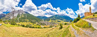 Town of Bormio in Dolomites Alps panoramic landscape view