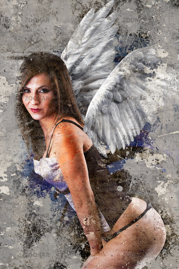 Artistic portrait with textured background, naked woman with angel wings