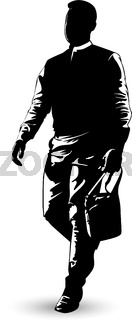 Black and white image of a man walking with a small bag