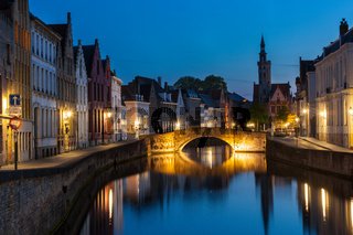 Bruges (Brugge) canal in the evening