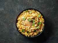 Pakistani chicken biryani rice, top view