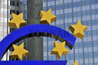 Eurozeichen, Währungssymbol, Europäische Zentralbank, EZB, Frankfurt am Main, Hessen, Deutschland, Europa