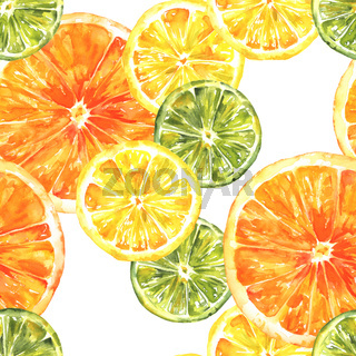 A seamless background pattern with watercolour lemons, oranges, and limes