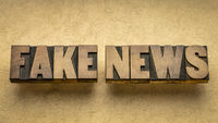 fake news word abstract in wood type