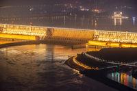 three gorges dam at night
