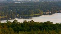 View of the lake Schwielowsee seen from lookout platform Wietkiekenberg