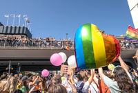 People on a Pride parade in Stockholm.